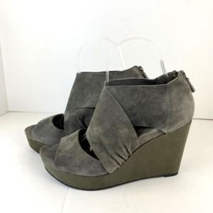 Eileen Fisher grey suede draw wrap wedges